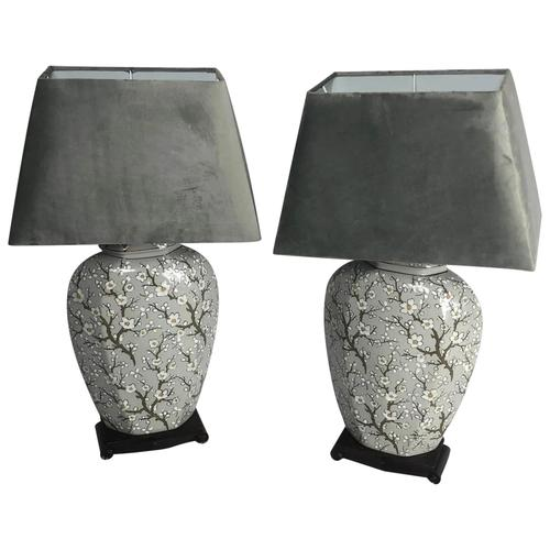 Pair Chinese Cantonese Porcelain Table Lamps With Shades Lighting Christmas Gift (1 of 51)