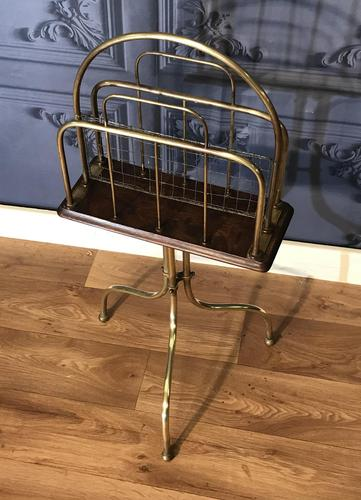 Victorian Brass & Oak Revolving Paper Rack by William Tonks (1 of 7)