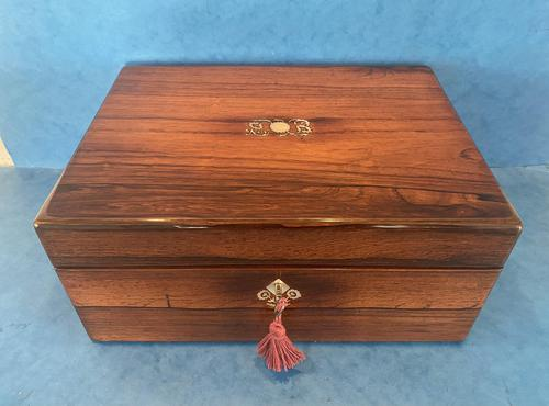 William IV Rosewood Jewellery Box with Mother of Pearl Inlay (1 of 12)