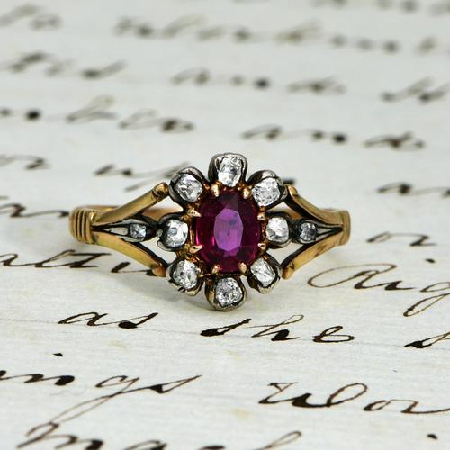 The Antique Victorian Ruby & Ten Diamond Ring (1 of 5)