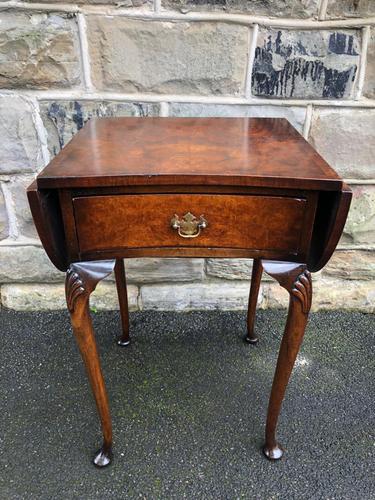 Antique Burr Walnut Drop Flap Side Table (1 of 9)