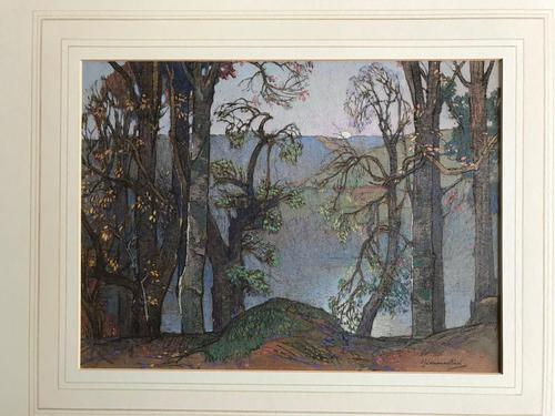 A watercolour by Samuel John Lamorna Birch RA  1869 - 1955 'A lake seen through trees' (1 of 4)