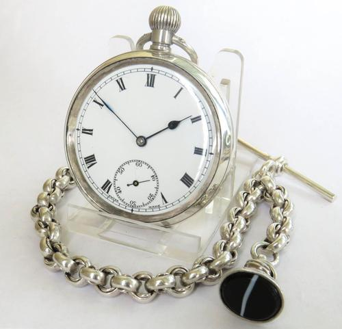 Antique silver Dimier Freres pocket watch and chain (1 of 5)