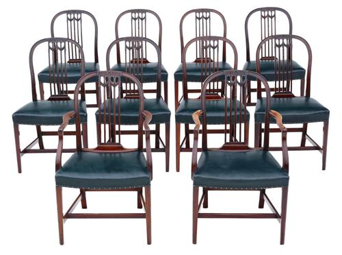 Set of 10 (8+2) mahogany dining chairs 19th Century (1 of 11)