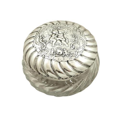 Antique Victorian Sterling Silver 'Cherub' Vanity Jar 1896 (1 of 9)