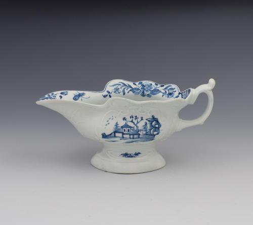 First Period Worcester Porcelain Sauceboat Triangular Platform Pattern c.1755 (1 of 13)