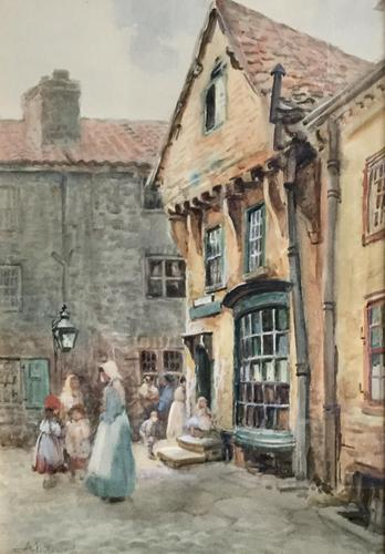 Arthur Netherwood Watercolour 'North East England Street Scene Possibly North Shields (1 of 2)