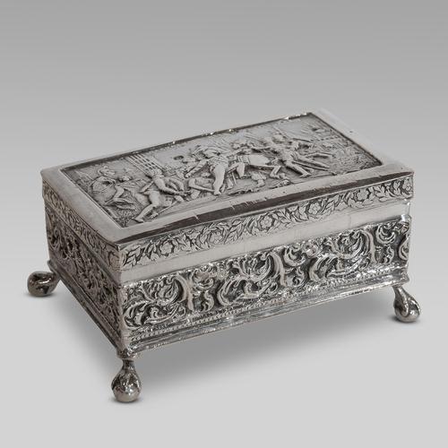 19thC Dutch Napoleonic battle scene silver box (1 of 4)