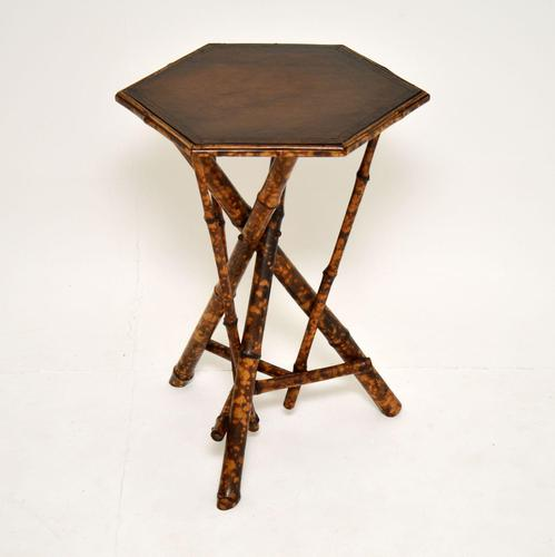 Antique Victorian Bamboo Leather Top Side Table (1 of 6)