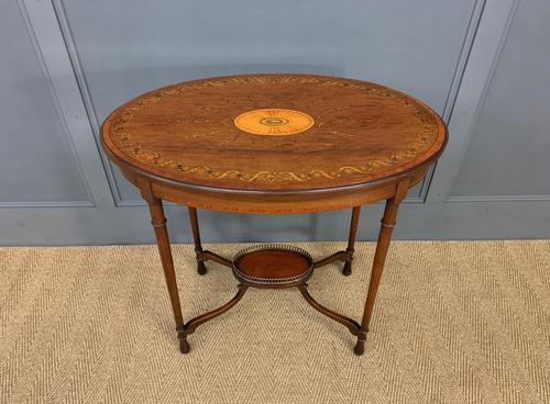Fine Quality Oval Inlaid Mahogany Occasional Table (1 of 16)