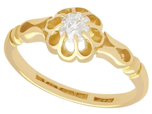 0.33ct Diamond & 18ct Yellow Gold Solitaire Ring - Antique 1912 (1 of 9)