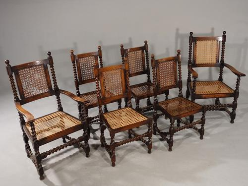 Attractive Set of 6 Early 20th Century Jacobean Style Chairs in Oak (1 of 6)