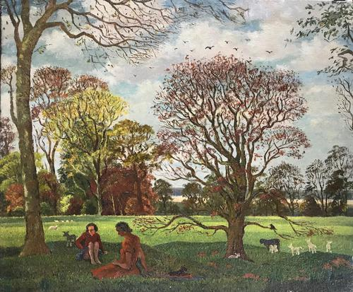 Original oil on canvas 'A summers day 1950' by Hugh Griffiths. b.1916 (1 of 4)
