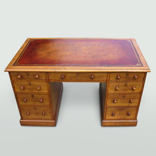 Oak Knee-Hole Pedestal Desk (1 of 7)