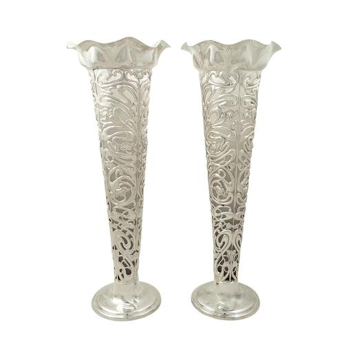 "Pair of Antique Art Nouveau Sterling Silver 10 1/2"" Vases 1905 (1 of 9)"
