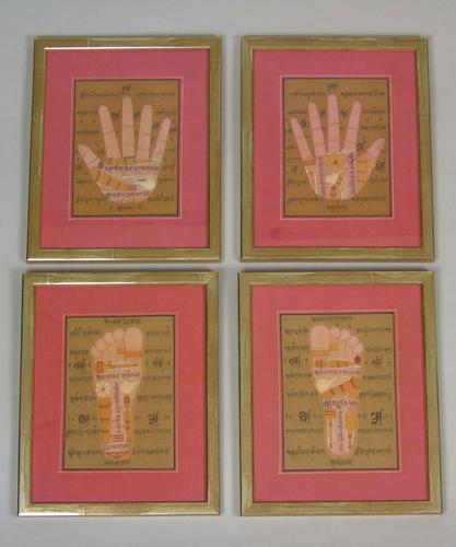 Rare Set of 4 Antique Indian Paintings Palmistry & Solestry (1 of 8)