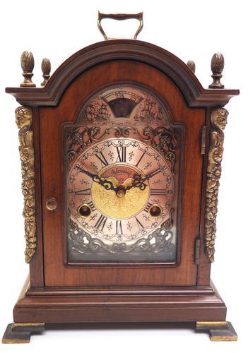 Fine Dutch Walnut Mantel Clock 8 Day Miniature Bracket Clock with Moon Roller (1 of 9)