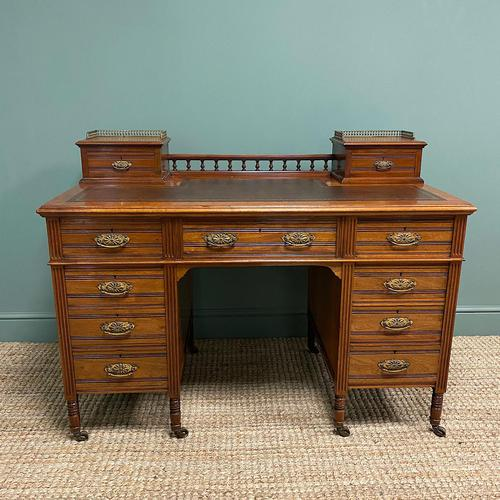 High Quality Victorian Maple & Co Antique Pedestal Desk (1 of 9)