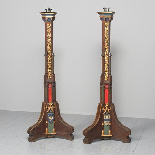 Pair of Gothic Revival Oak Standard Lamps (1 of 12)