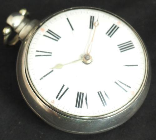 Antique Silver Pair Case Pocket Watch Fusee Verge Escapement Key Wind Enamel P Edmonds Liverpool (1 of 10)