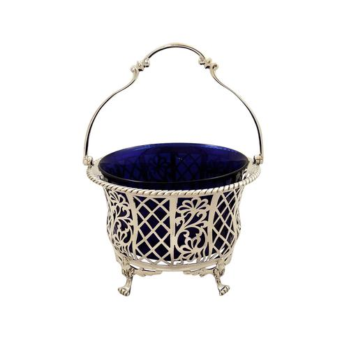 Antique Sterling Silver Pierced Basket with Liner 1926 (1 of 9)