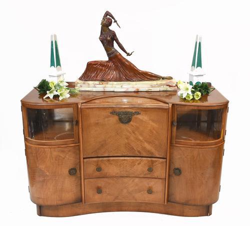 Art Deco Drinks Cabinet Walnut Vintage 1930s (1 of 16)