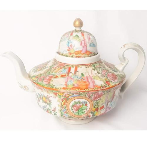 19th Century Cantonese Femille Rose Large Tea Pot (1 of 12)