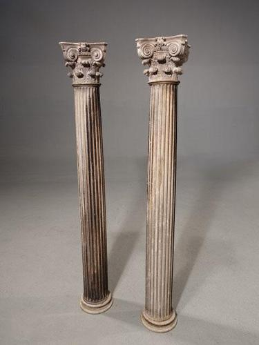 Good and Well Formed Pair of Late 18th Century Carved Italian Marble Columns (1 of 6)