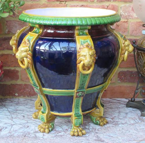 Very large Minton majolica jardiniere, 1881, with lion's head strapwork handles (1 of 12)