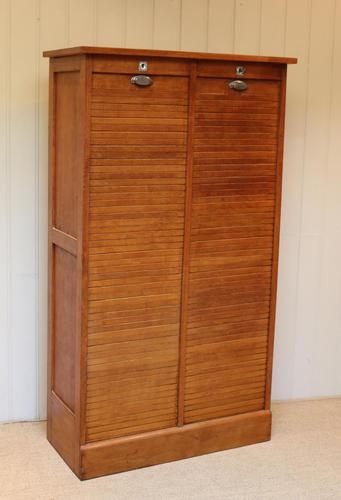French Oak Double Tambour Front Filing Cabinet (1 of 10)