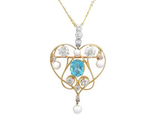 3.22ct Diamond & 2.10 ct Aquamarine, Pearl & 18ct Yellow Gold Pendant / Brooch - Antique Victorian (1 of 9)