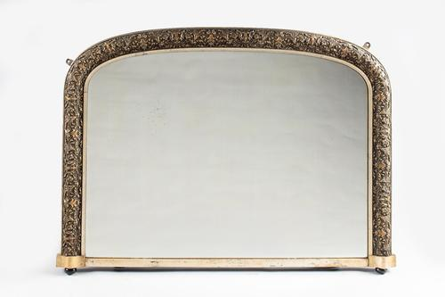 19th Century English Victorian Silvered Gilt Overmantle Mirror (1 of 6)