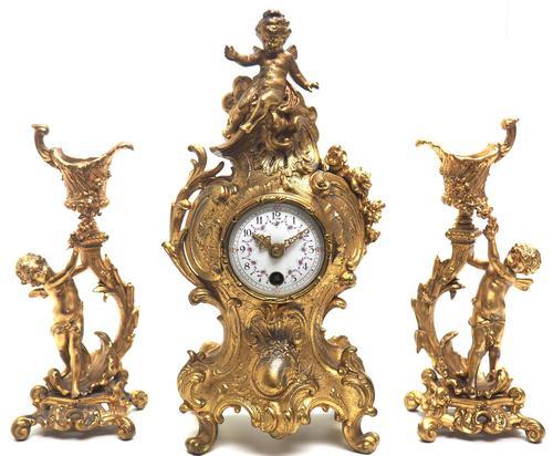 Antique 8 Day Ormolu Mantel Clock Set Cherubs At Play 8 Day Mantle Clock (1 of 11)