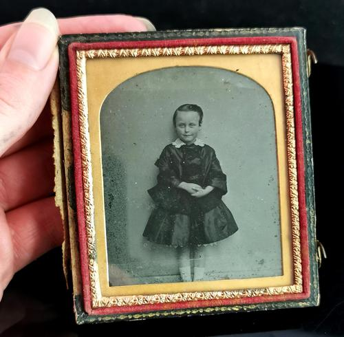 Victorian Cased Ambrotype Photograph, Boy in a Dress (1 of 7)