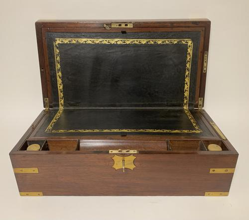 Antique Mahogany Brass Bound Campaign Writing Slope Box (1 of 17)