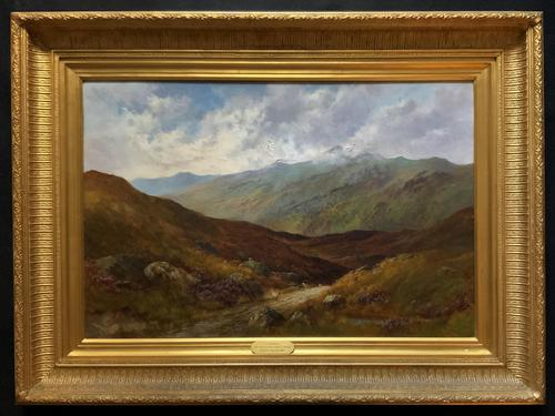 (1of2) Huge Exceptional 19thc Snowdonia Welsh Mountain Landscape Oil Painting (1 of 15)