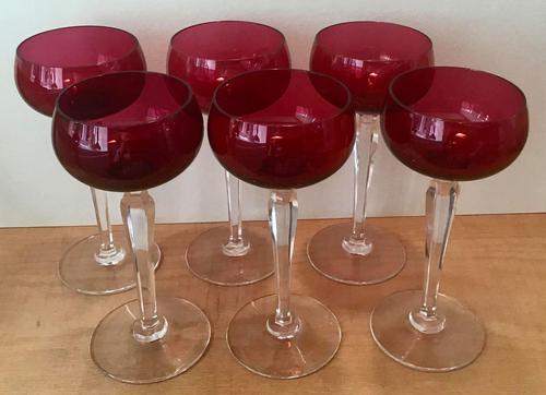 Set of Six Cranberry Wine Glasses (1 of 5)