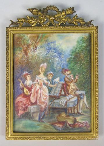 Beautiful Miniature Painting after Boucher Musicians in a Woodland (1 of 7)
