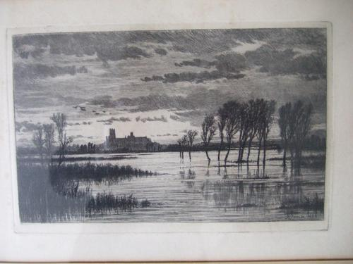 """Robert Farren - Etching """"A Flood in the Fens"""" Featuring Ely Cathedral (1 of 4)"""
