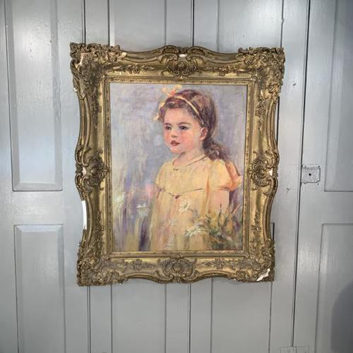 Antique oil painting portrait of young girl in ornate gesso frame signed William Patrick (1 of 8)