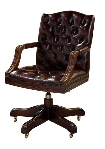 Leather Upholstered Mahogany Desk Chair (1 of 9)