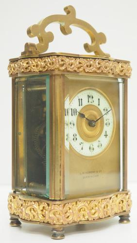 Fine Antique French 8-day Serpentine Fleur De Lis Decorated Panel 8-day Carriage Clock Timepiece c.1890 (1 of 10)