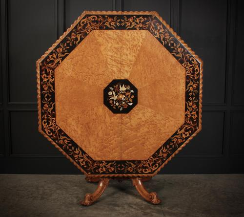 Rare Birds Eye Maple Octagonal Marquetry Inlaid Centre Dining Table (1 of 8)