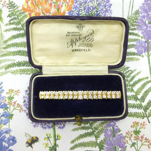 Stunning Vintage Diamond Double Row Bar Brooch 2.5 Carat ~ With Independent Appraisal / Valuation (1 of 11)
