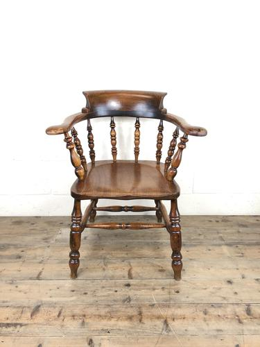Antique 19th Century Ash & Elm Smokers Bow Chair (1 of 12)