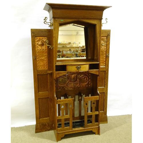 Liberty & Co Art Nouveau Oak Hall Stand with Impressed Copper Panel c.1910 (1 of 5)