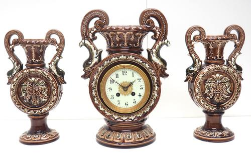 Amazing French 8 Day Majolica Mantle Clock Set Rare Pottery Mantle Clock Set (1 of 11)