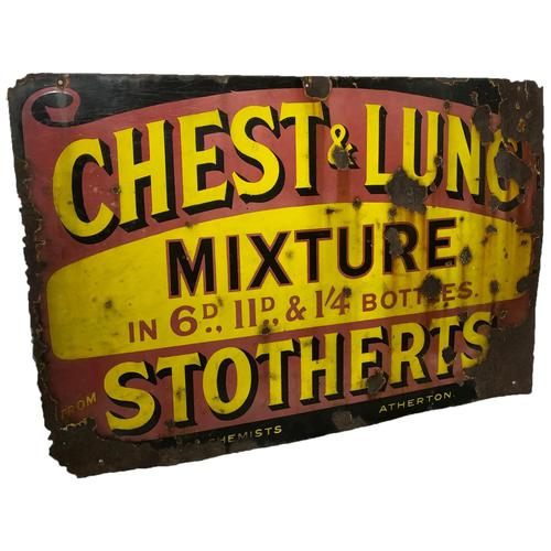 Large Rare Medicine Chemist Stotherts Atherton Chest & Lung Mixture Enamel Sign (1 of 21)