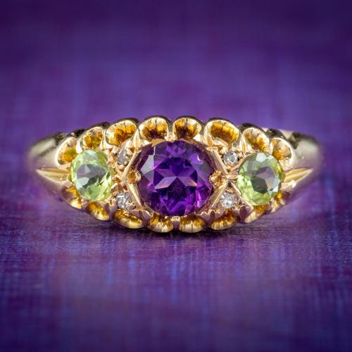 Antique Suffragette Ring Amethyst Peridot Diamond 18ct Gold S Blanckensee And Son Dated 1917 (1 of 8)