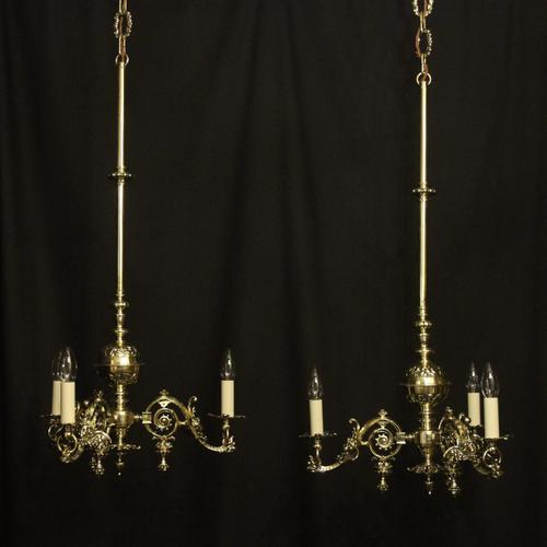 English Pair Of Triple Light Antique Gasoliers (1 of 10)